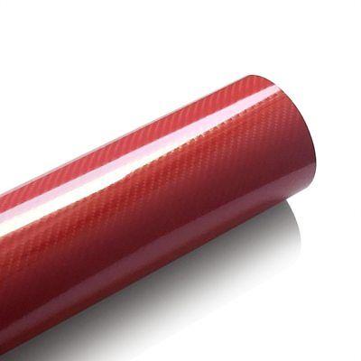 5D Carbon Folie Rot Hochglanz (4D struktur) 152 cm x 100 cm Luftkanäle