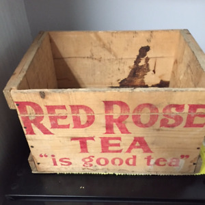 Red Rose Tea Wooden Crate