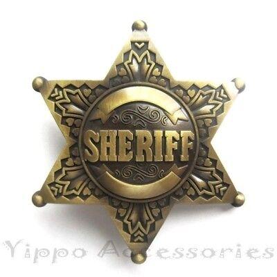 Bronze Sheriff Badge Star Metal Fashion Belt - Metal Sheriff Badges
