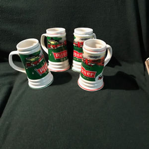OLD STYLE PILSNER BEER GREEN STEIN MUG CUP GLASSTwo of them wi