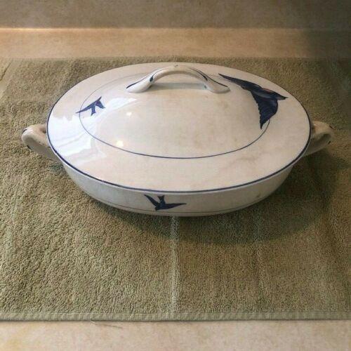 La Francaise Porcelain Covered Serving Dish with Blue Birds