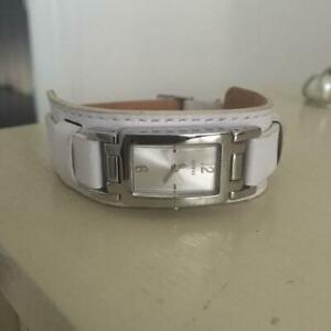 Womens White Leather Guess Watch