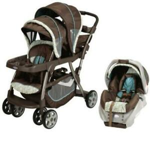 Double stroller Graco with car seat and base....