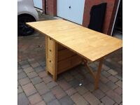 Dining Table - 6 seater Ikea Norden Gateleg Table with 6 drawers. Beech finish.