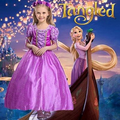Girls Dresses Rapunzel Tangled Costume Princess Cosplay Fancy Hallowee Christmas