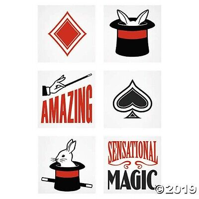 72 Magic Show TATTOOS BIRTHDAY pool party favor loot bag TOP HAT BUNNY WAND](Top Hat Favors)