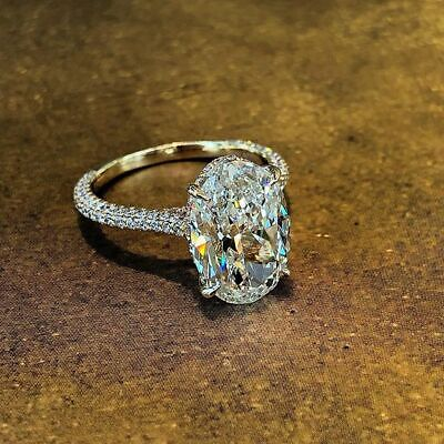 Stunning Oval Cut 2.10 Ct Diamond Engagement Ring with Pave H VS1 GIA Certified 1