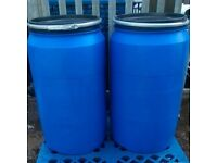 240 litre, wide mouth plastic shipping barrels, drums, water butts, kegs, storage - £30.00