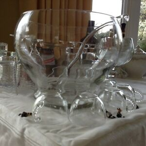Huge modern punch bowl glasses and glass server. PARTY PERFCT