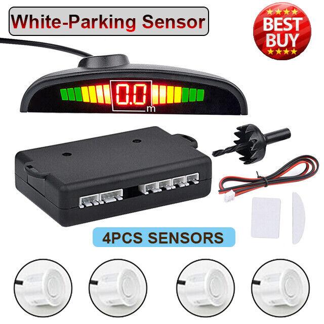 White-Reverse 4 Parking Sensors Kit Car Rear Backup Buzzer Audio Alarm Kit