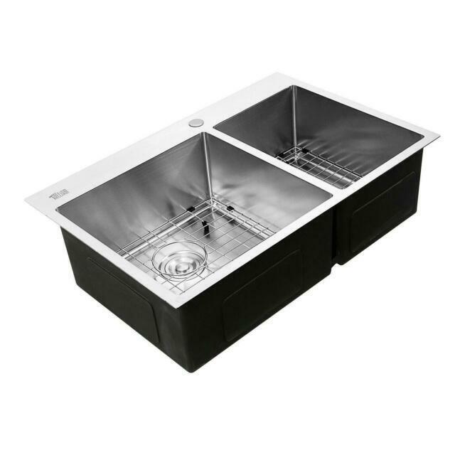 "33"" x 22"" x 9"" Stainless Steel Double Bowl 16 Gauge Kitchen Sink Topmount New"
