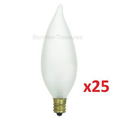 25-pack SUNLITE 40w FROSTED FLAME TIP Chandelier Light Bulbs E12 Candelabra (40w E12 Candelabra Base)