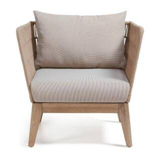 Timber outdoor furniture chair featuring rope detailing