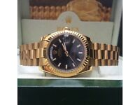 Gold Rolex Day-Date with Black Face in Rolex Bag and Rolex Box
