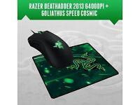 GENUINE RAZER DEATHADDER 2013 6400DPI GAMING MOUSE + GOLIATHUS MOUSEPAD