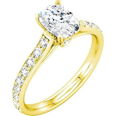 1.01 ct Engagement Oval Diamond 14k Yellow Gold Ring center GIA 0.51 ct F SI1