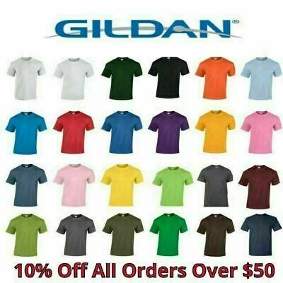 Gildan Mens T Shirts 5000 Solid Heavyweight Cotton Short Sle