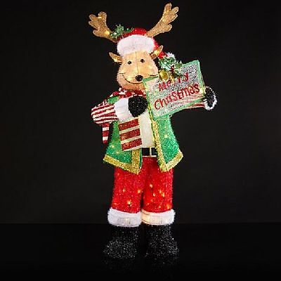 """ON SALE 52"""" Lighted Christmas Moose Sculpture Holiday Yard Decor (New in Box)"""