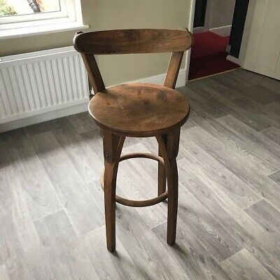 VINTAGE SOLID WOOD COUNTER HEIGHT BAR STOOL