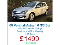 08 PLATE VAUXHALL ASTRA 1.6 SXI 5dr + MOT + FREE WARRANTY