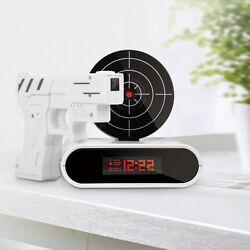 Laser Target Gun Alarm Clock Shoot to Stop Game Novelty Gift White LCD Screen