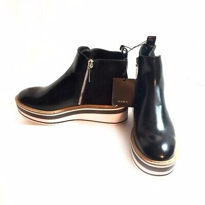 New Zara Women's Black Leather/Suede Platform Zip Up Ankle Boot Size 37 /US 6.5