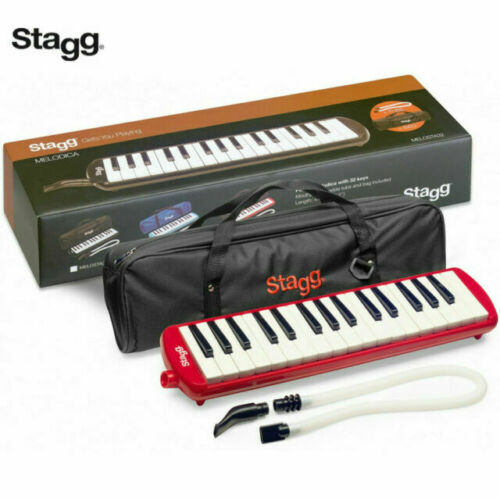 Stagg MELOSTA32RD Red Plastic Melodica Reed Keyboard 32 keys w/Mouthpiece & Case
