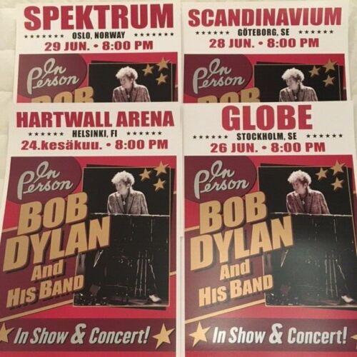 Bob Dylan 4 POSTER LOT 2019 LIVE Gothenburg Oslo Helsinki Stockholm SHIP FROM US