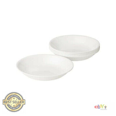 Corelle Living ware Pasta Bowls Dishwasher Glass Winter Frost White (Set of 6)