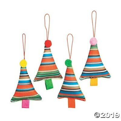 4 Fabric Christmas Tree Ornaments Mexican Spanish Fiesta Party Decoration ()