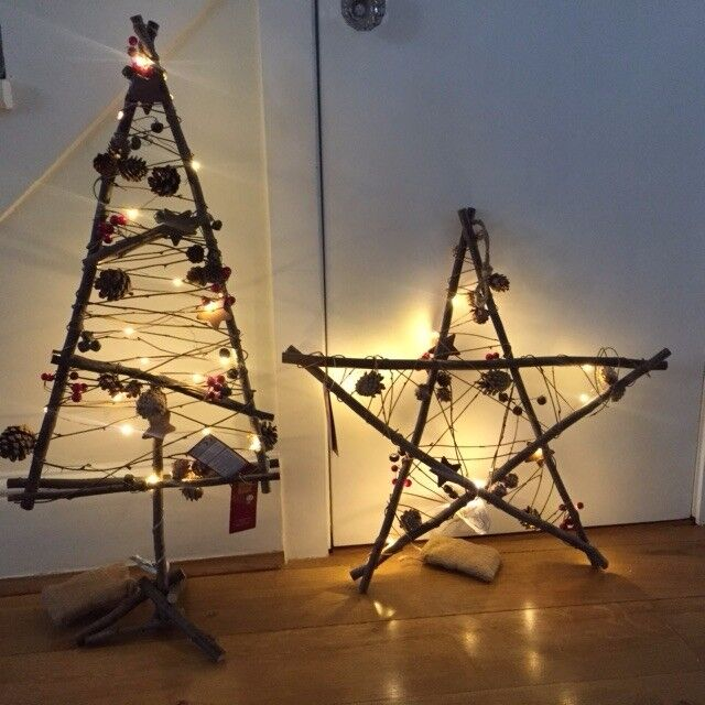 Wooden Christmas Tree Decorations which lights up. New. RRP £29.50. Collect Fulham