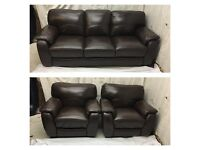 Brown leather 3/1/1 seater sofas excellent condition