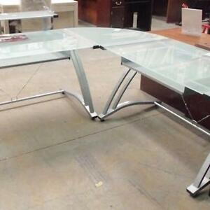 Large Metal Frosted Glass L Shaped Desk
