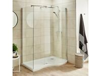 Shower screen side and curved panel enclosure