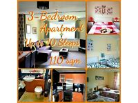 3 BEDROOM FLAT - UP TO 10 SLEEPS - WEEKLY - MONTHLY RENTALS - TWIN & DOUBLE ROOMS - FREE WI FI