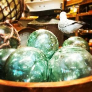 Antique blue & green glass Japanese fishing floats