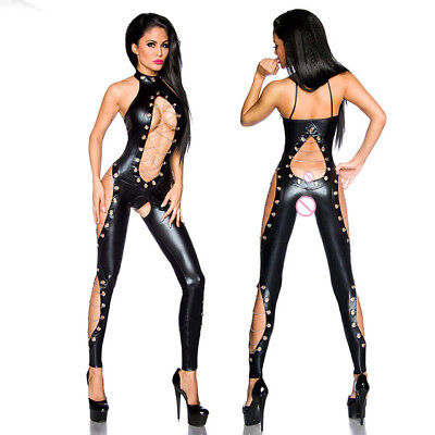 Black Leather Jumpsuit Costume (Women Black Leather Wetlook Catsuit Jumpsuit Bodysuit Clubwear Lingerie)