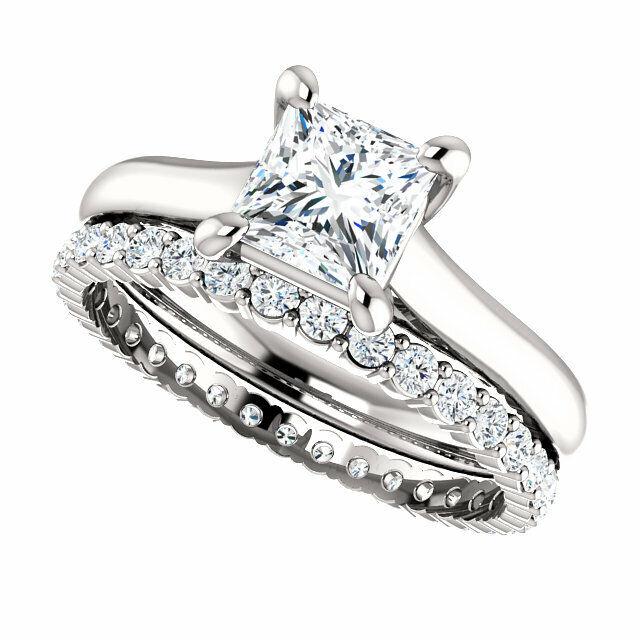 2.70Ct Princess Cut Diamond Engagement Ring w Eternity Wedding Band G VS2 GIA  2