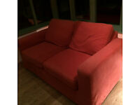 Double sofa bed with washable terracota cover
