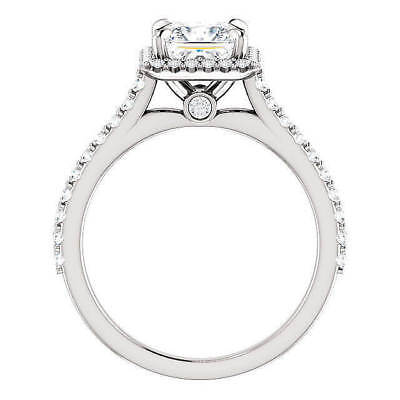 1.55 ct. Princess Cut Halo U-Setting Diamond Engagement Ring F, VS1 GIA 14k WG 2