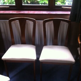 4 well made british dining chairs from 1980's - sturdy construction - recently recovered