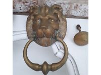 Reclamation antique vintage old large lion head door knocker with striking plate