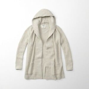 ABERCROMBIE & FITCH TEXTURED KNIT OPEN CARDIGAN