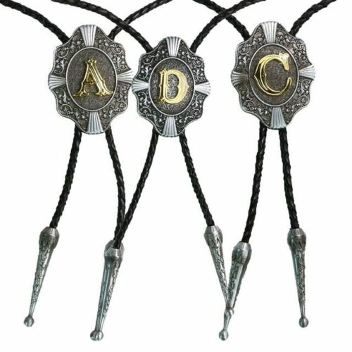 Men-Women Initial Letters Bolo Tie Western Style Cowboy Antique Silver