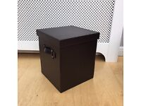 NEXT set of 3 brown leather storage boxes