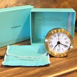TIFFANY & CO ROUND BRASS DESK ALARM CLOCK w ROMAN NUMERALS, DUST BAG, BOX