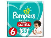 Pampers Baby Dry Nappy Pants Size 6 32 per pack