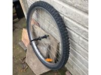 """BICYCLE WHEEL - 26"""" FRONT WITH NEW TYRE AND QUICK RELEASE HUB."""