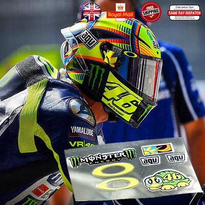 Valentino Rossi 46 Latest Laminated 3M Reflective Helmet Decals Sticker Set 1:1