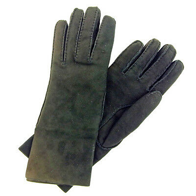 Hermes gloves Black Woman Authentic Used Y5204